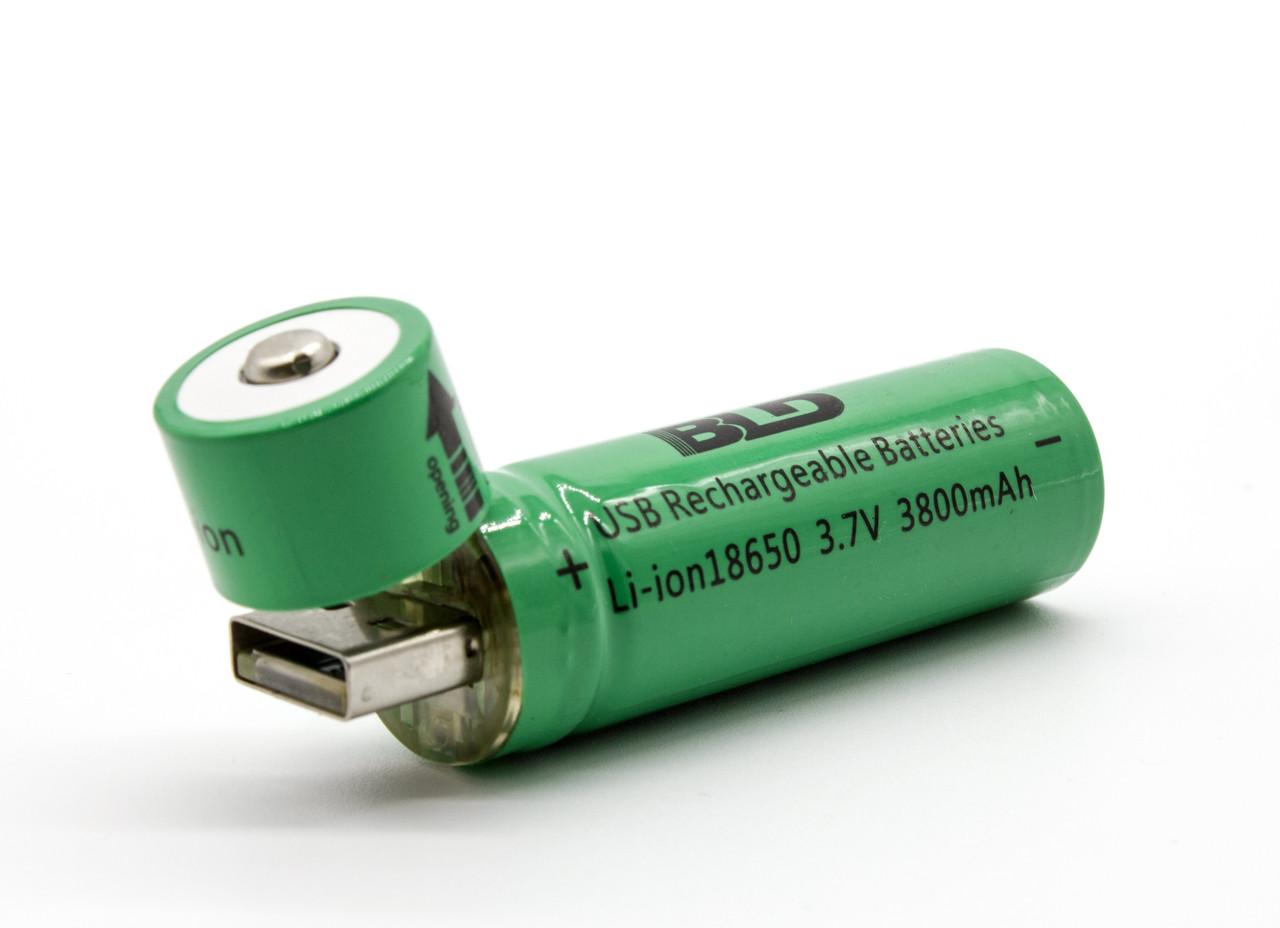 Аккумулятор 18650 BLD зарядка от USB Li-ion 3800mAh