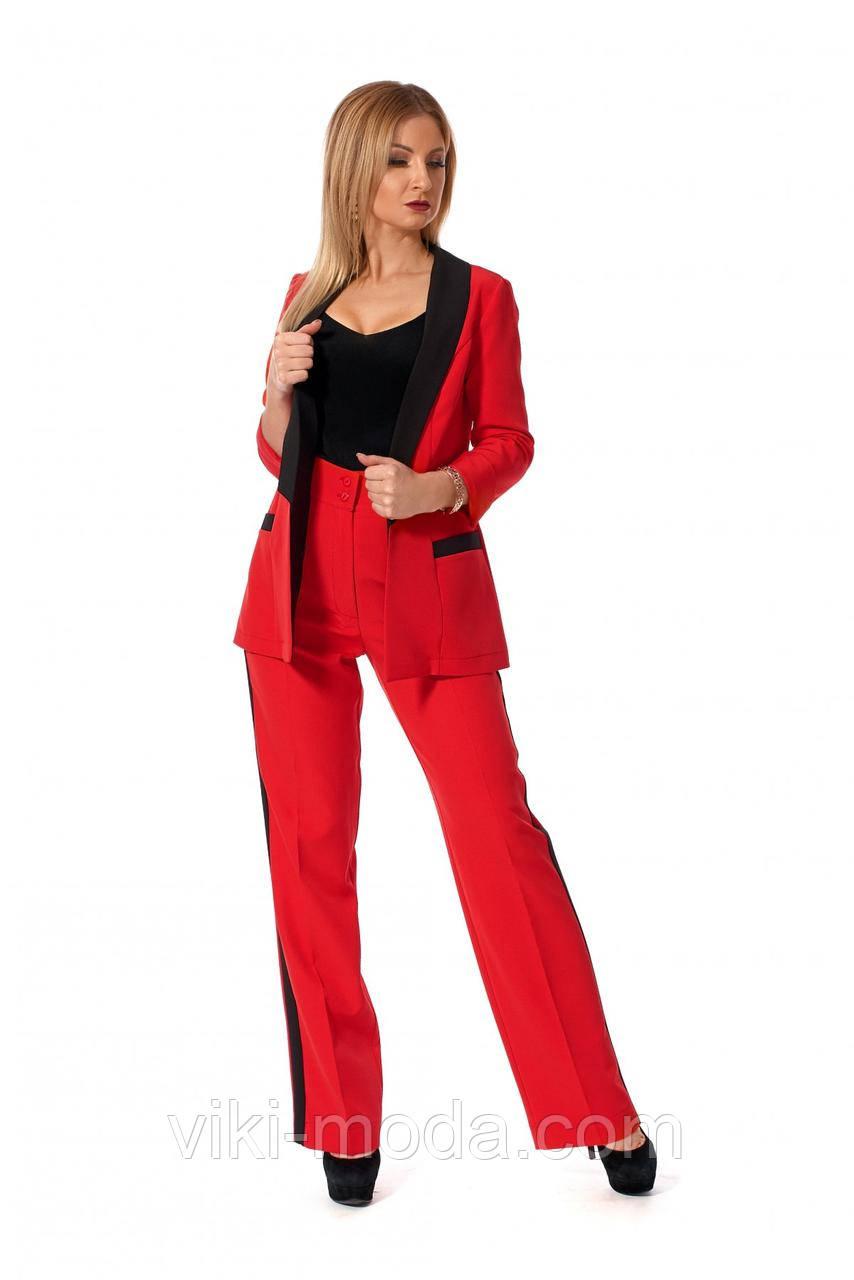 Стильный женский костюм-двойка, материал креп костюмный, красного цвета