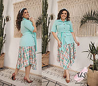 Красивый батальный повседневный женский  костюм с  юбкой. 3 цвета!, фото 1