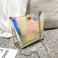 Женская прозрачная сумка Hologram на цепочке, фото 1