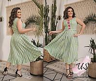 Женское батальное летнее платье с геометрическим принтом. 3 цвета!, фото 1