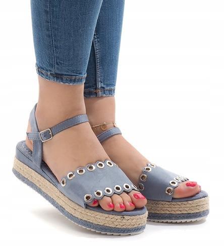 Женские босоножки джинсовые, танкетка