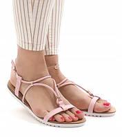 Женские босоножки на плоской подошве, розовый цвет