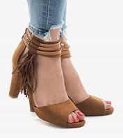 Замшевые босоножки цвета капучино с открытым носком , фото 1