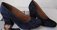 Nona! жіночі класичні туфлі, якісна натуральна замша,темно-сині туфлі, стійкий зручний каблук 7.5 см замшеві