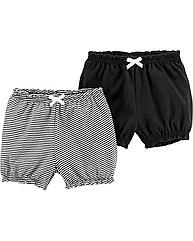 Легкие трикотажные шорты для маленькой девочки Carter's, набор 2 шт. хлопковые шортики картерс ченые белые