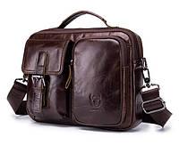 Мужской кожаный портфель BullCaptain коричневый