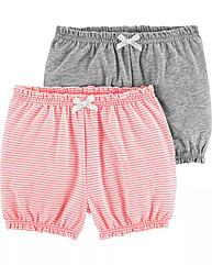 Легкие трикотажные шорты для маленькой девочки Carter's, набор 2 шт. хлопковые шортики картерс розовые и серые