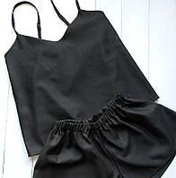 Женская пижама черного цвета из сатина премиум-качества