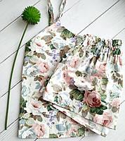 Женская хлопковая пижама в цветы, фото 1