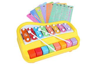 Ксилофон пианино Baoli 8 тонов с карточками (желтый)