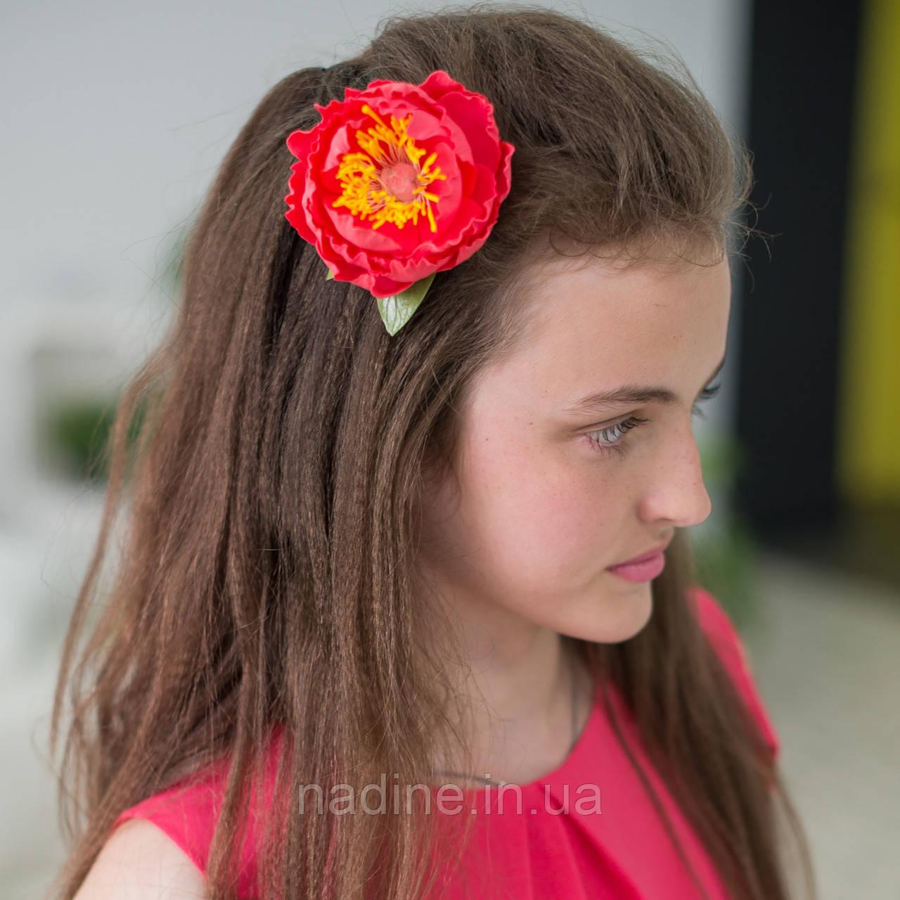 Заколка для волос Nadine Пион из фоамирана коралловая