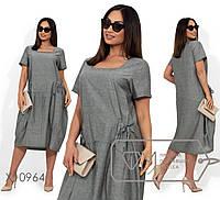 Удобное женское льняное платье свободного кроя больших размеров 50 - 56