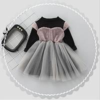 Платье детское с начесом серое