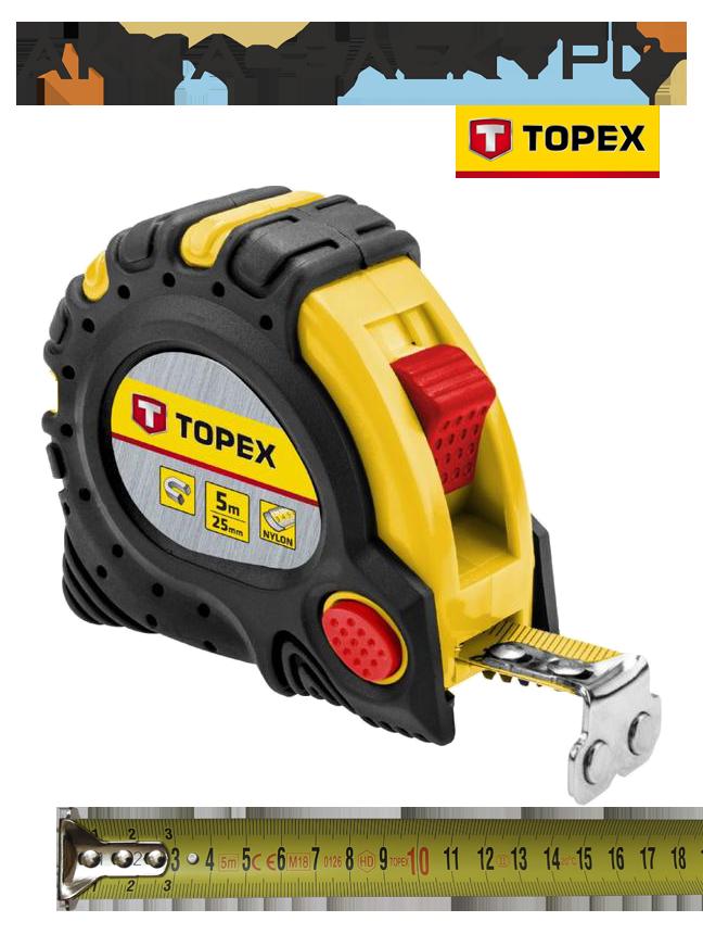 Рулетка TOPEX 5 м х 25 мм магнитная с нейлоновым покрытием (27C345)