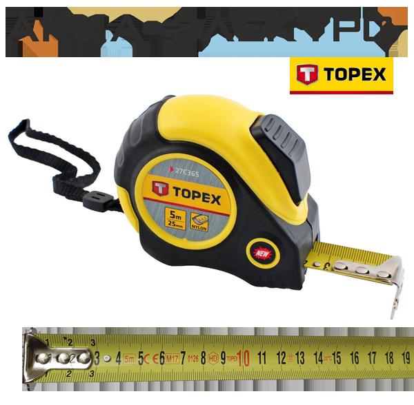 Рулетка Topex - 5 м х 25 мм, магнит, автостоп(27C365)