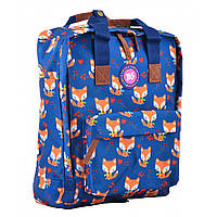 Сумка-рюкзак молодежная для девушек Yes ST-34 Sly Fox 35.5*27*10.5 см синий с рисунком (555020)
