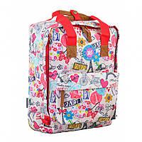 Сумка-рюкзак молодежная для девушек Yes ST34 Paris 35.5*27*10.5 см белого цвета с рисунком (555012)