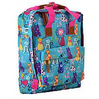 Сумка-рюкзак молодёжная для девушек Yes ST34 Meow 35.5*27*10.5 см голубой с рисунком (555014)