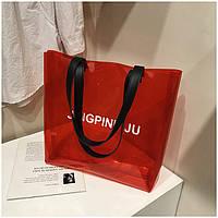 Женская прозрачная пляжная сумка JingPin красная, фото 1