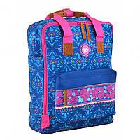 Сумка-рюкзак молодежная для девушек Yes ST34 Folk 35.5*27*10.5 см синий с узором (555024)