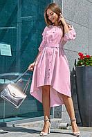 Выпускное платье с вышивкой на рукавах светло розовое