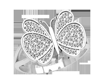 Кольцо женское серебряное Бабочка 21314