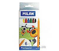 Карандаши восковые Milan, комплект из 6 цветов