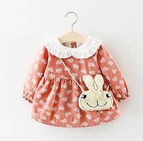 Платье детское утепленная с сердечками