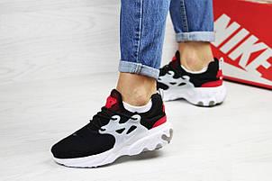 Модные кроссовки Nike air presto  React ,текстиль,черные с красным, фото 2