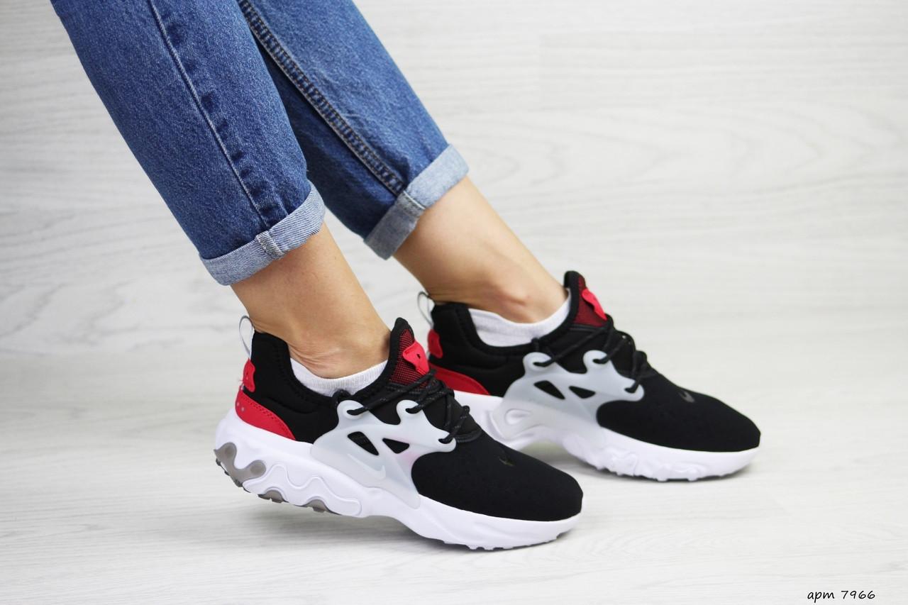 Модные кроссовки Nike air presto  React ,текстиль,черные с красным