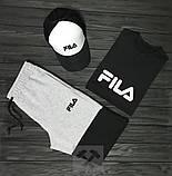 Чоловічий літній костюм Fila (Філа) комплект 3 в 1, фото 4