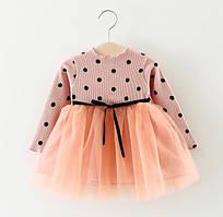 Платье детское в горошек розовое