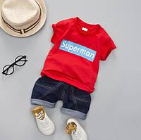 Летний костюм мальчику Superman красный 2982