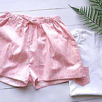 Пижама женская  с футболкой и шортами розового цвета