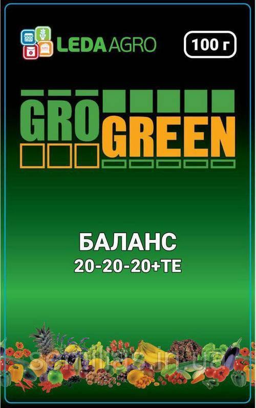 "Удобрение Грогрин Баланс (20-20-20+ТЕ), 100 гр., ТМ ""Леда Агро"""