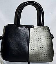Женская сумка из искусственной кожи 24*16 см (черная с графитовым)