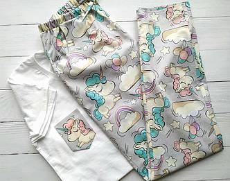 Женская серая пижама с футболкой и штанами с единорогами, фото 2