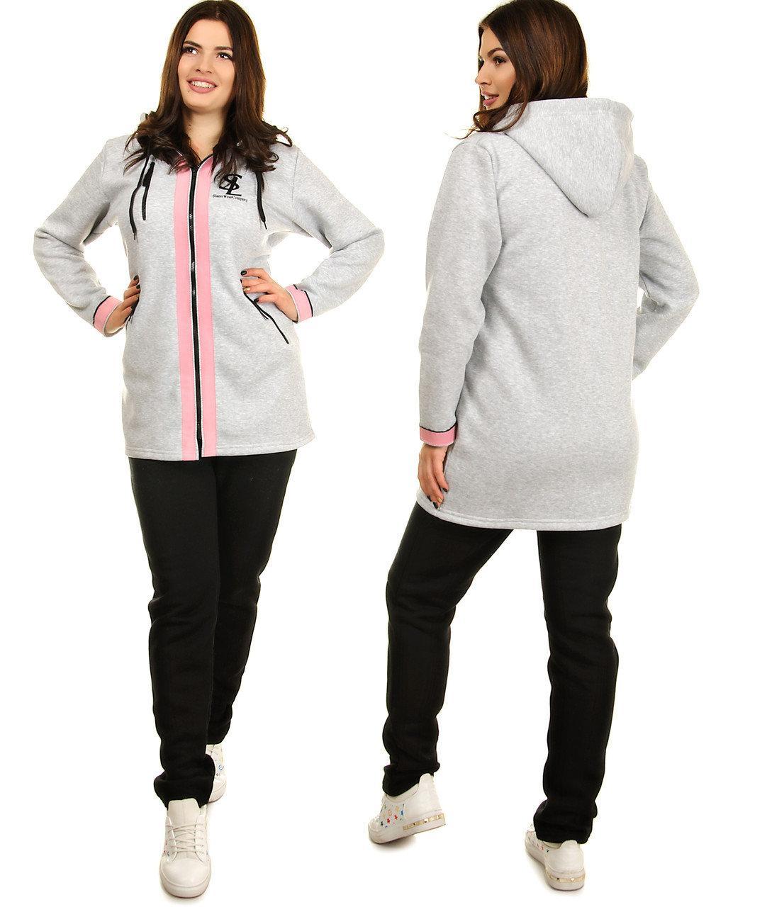 Теплый спортивный костюм женский больших размеров (батал)