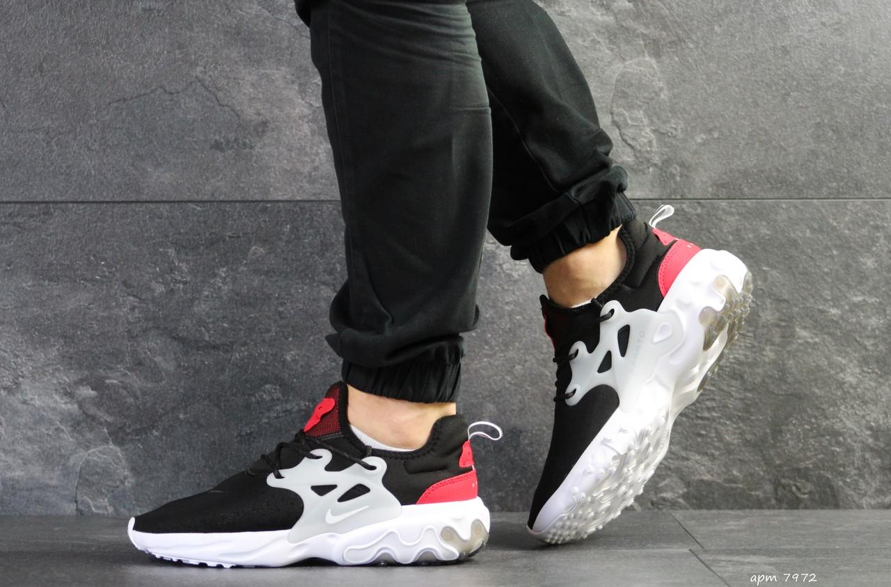 Мужские кроссовки Nike air presto React,текстиль,черно-белые