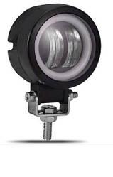 Фара светодиодная LED для мотоцикла RB-09 с ангельскими глазками белый/белый круглая