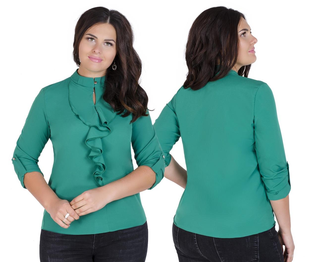 Нарядная блузка с оригинальным воротником 52-56 (в расцветках)