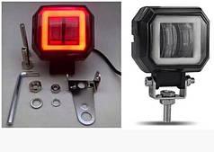 Фара светодиодная LED для мотоцикла RЕ-10 с ангельскими глазками белый/красный квадратная