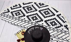 Подстилка для пляжа круглая черно-белая с геометрическим узором, фото 2
