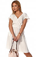 Короткое летнее платье белого цвета. Модель 1163. Размеры 42-48