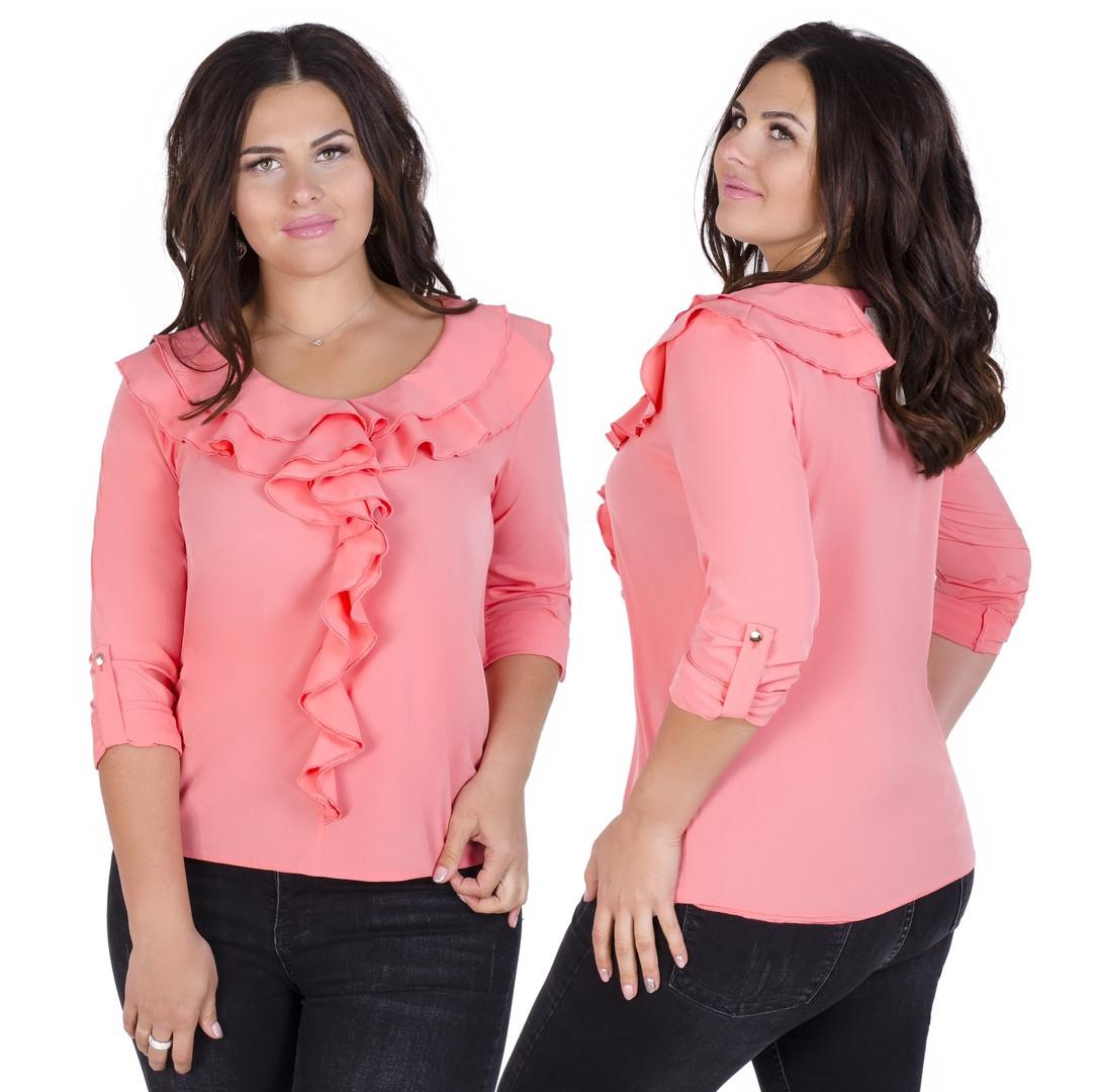 Большого размера блузка с жабо 52-56 (в расцветках)