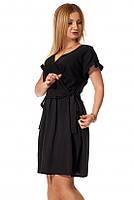 Короткое летнее платье черного цвета. Модель 1163. Размеры 42/44