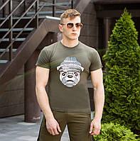 Оригинальная мужская футболка Pobedov летняя с принтом собаки цвет хаки