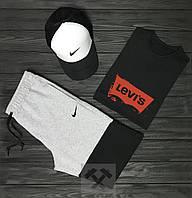 Мужской летний костюм Nike & Levi's (Найк и Левайс) комплект 3 в 1