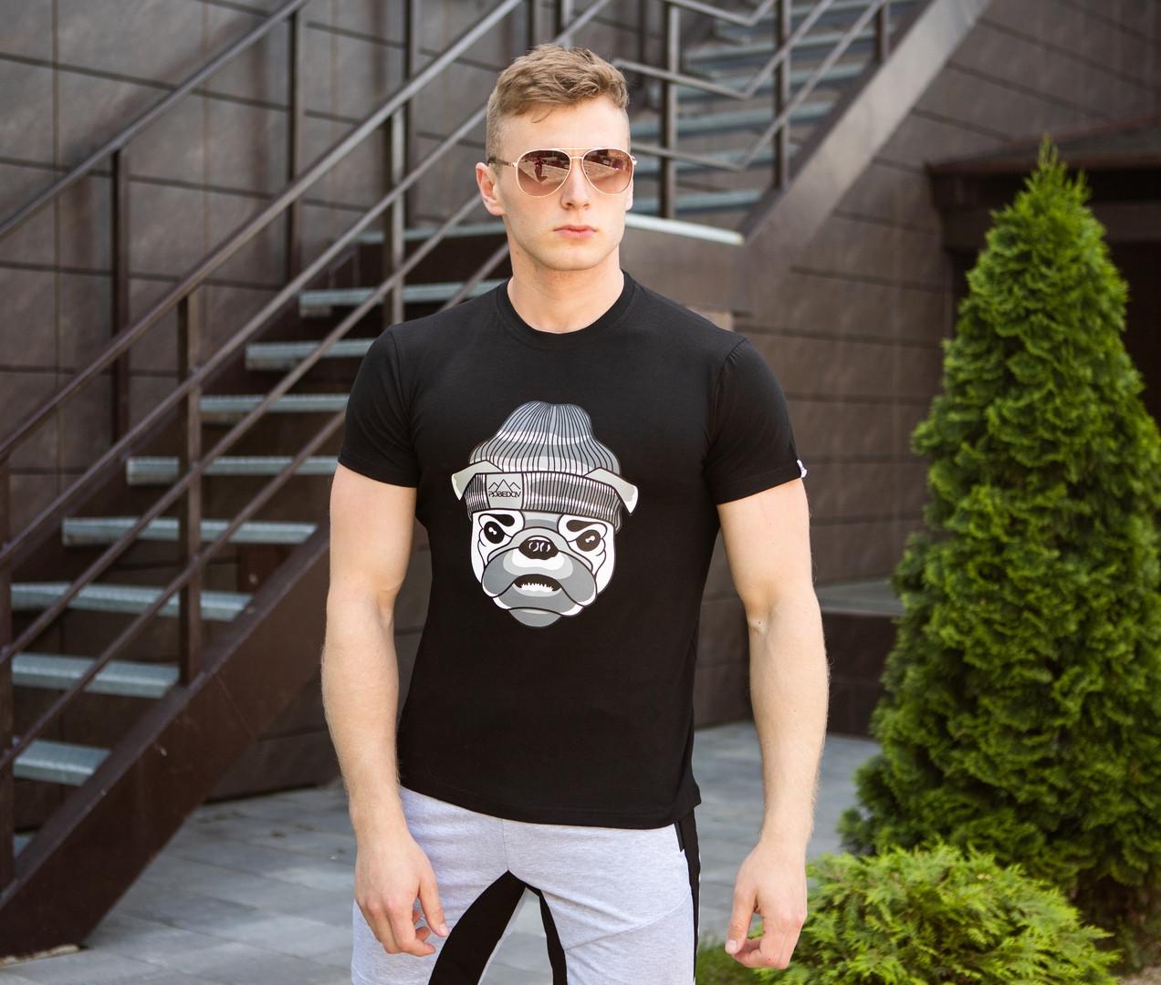 Мужская футболка Pobedov летняя с принтом собаки в шапке черная
